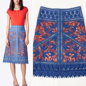 Tory Burch Lace Whitney Skirt Hudson Blue